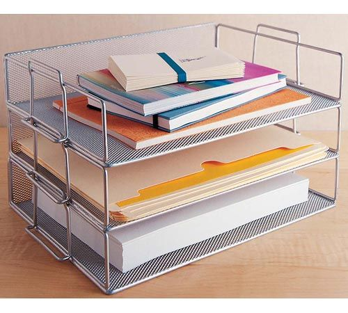 Silver Mesh Stackable Paper Tray is a stackable wire mesh paper tray that helps keep you organized.