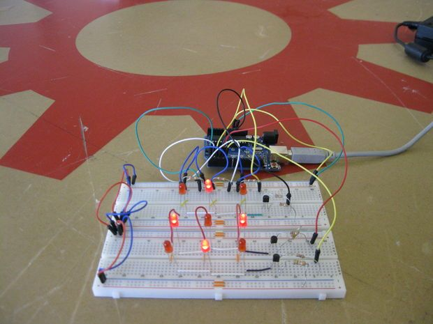 Picture of Multiplexing with Arduino - Transistors    (I made it at techshop)