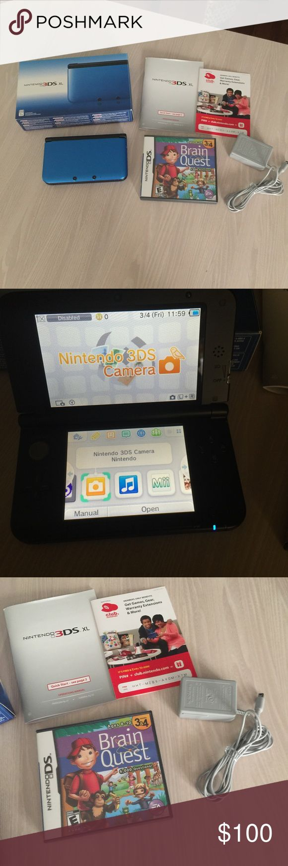 Nintendo 3ds XL Nintendo 3ds xl only played twice no scratches or anything like brand new charger and game was purchased separately from the game but is included with this sale Accessories