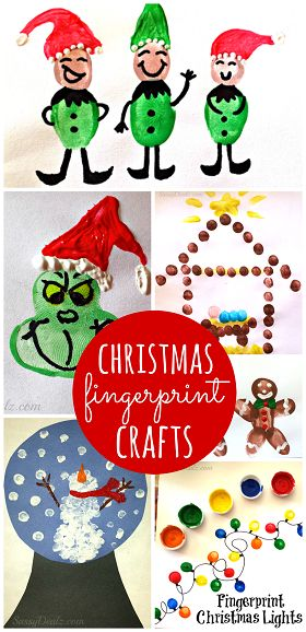 Christmas & Winter Fingerprint Craft Ideas For Kids - (Find the Grinch, snowmen, christmas lights, elves, and more art projects!) | CraftyMorning.com: