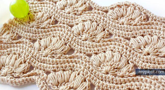 MyPicot | Free crochet patterns beautiful bobble fan pattern