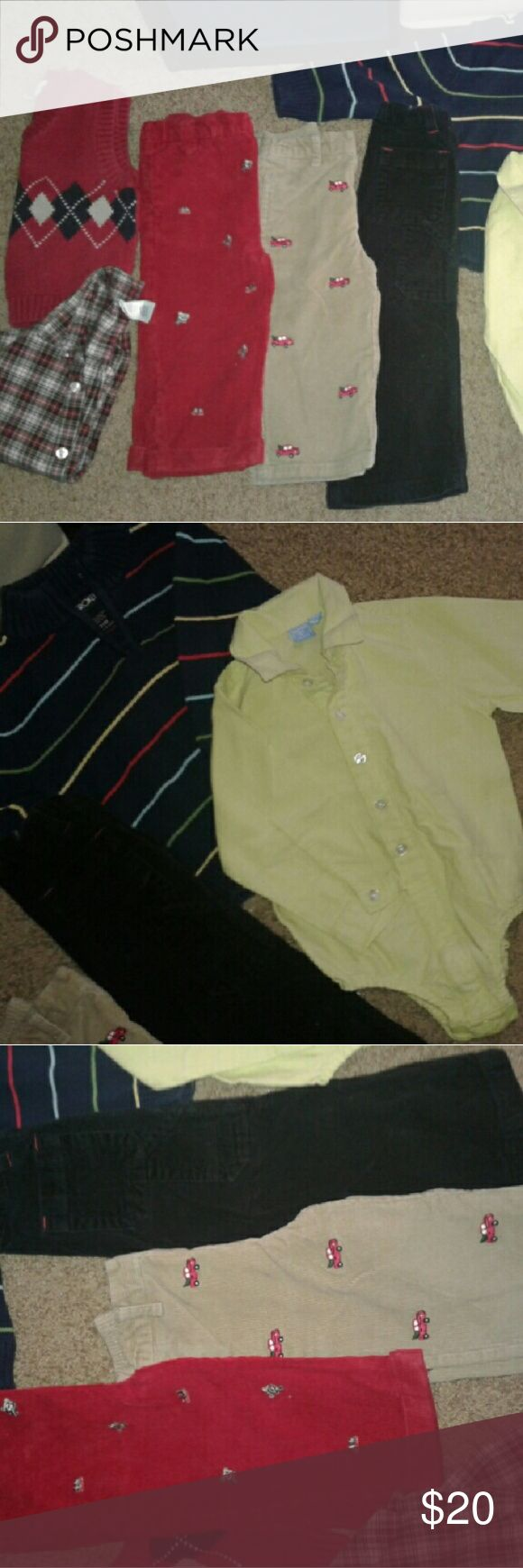 Winter Toddler bundle(boy) Size range from 12 months to 24 months/2t Gymboree, Old Navy, Sonoma and Cherokee Brands Very good condition. No stains, odors, rips, holes or tears. Comes from smoke and pet free home.  Sold as set ONLY. 7 pieces. 3 corduroy pants, 2 shirts, 1 sweater, 1 vest. Other