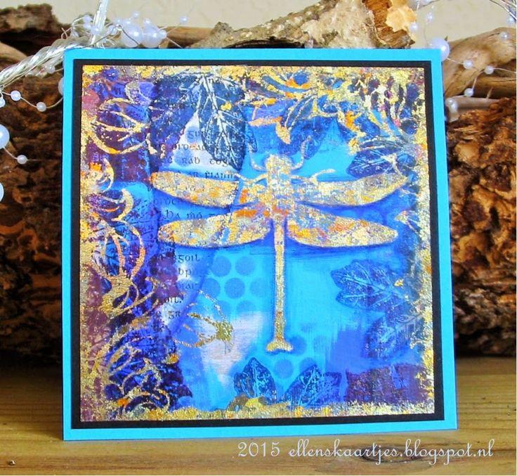 Ellen's kaartjes: Golden Dragonfly. Border is parts of Baroque Swirl.
