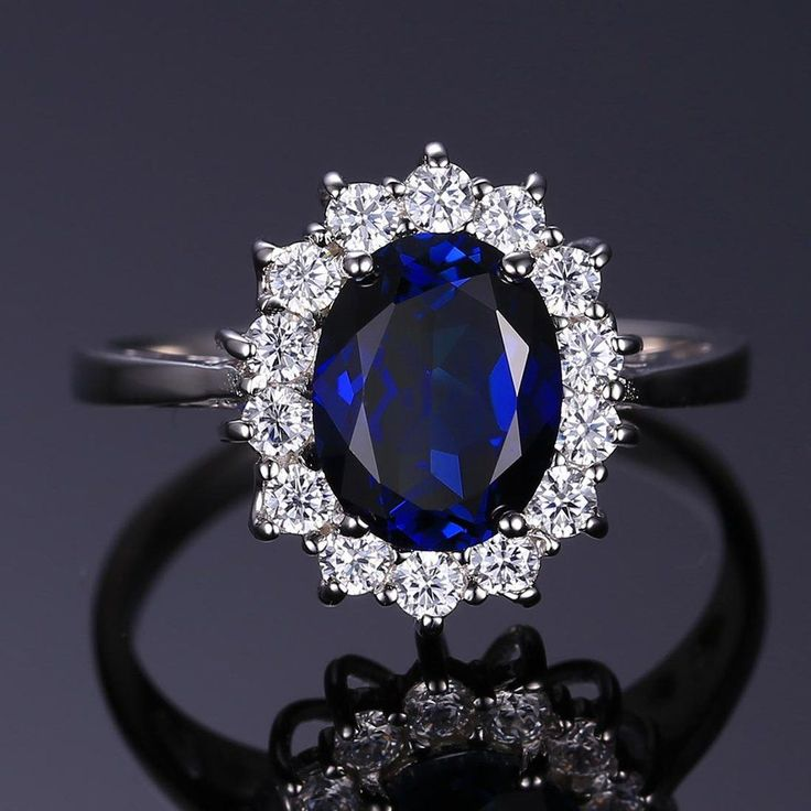 Diana William Kate Middleton's 3.2ct Created Blue Sapphire Engagement 925 Sterling Silver Ring For Women