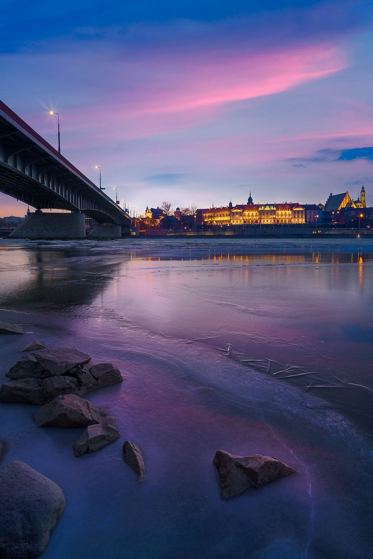 Winter Colours - Warsaw Old City from the eastern bank of Vistula river, Warsaw, Poland