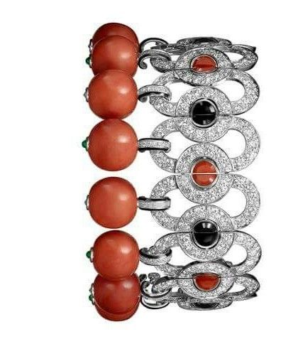 CARTIER,coral,diamond,bracelet
