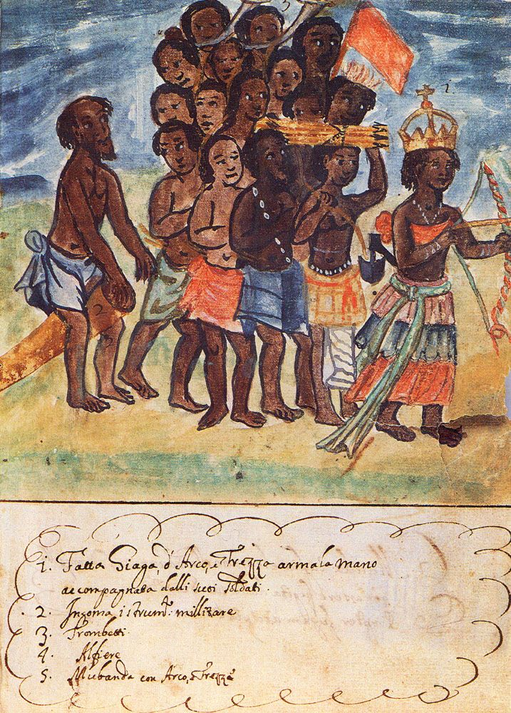 coolchicksfromhistory:  Queen Nzinga with Her Entourage, Kingdom of Kongo, 1670s by Antonio Cavazzi (Source). Nzinga was a 17th century queen who thwarted Portuguese colonization with her military skill and diplomatic cunning.  An excellent military strategist, she led troops into battle past the age of 60.  Nzinga also provided a haven for escaped slaves, many of whom joined her army.   For more information: Stuff You Missed in History Class podcast, There's Always a Seat for Queen Nzinga…