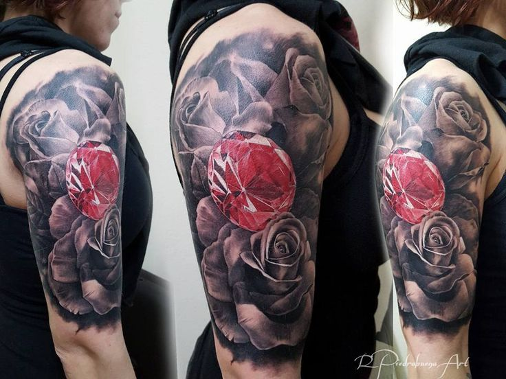 31 best realistic diamond and rose tattoo images on