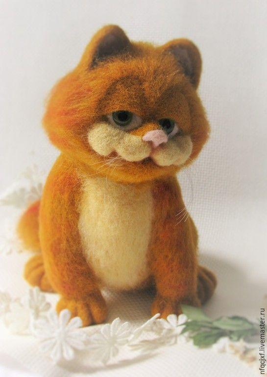 """Купить """" Гарфилд"""" - рыжий, кот, гарфилд, хитрый, валяная игрушка, игрушка ручной работы"""