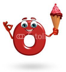 Cartoon Character of alphabet O with icecream
