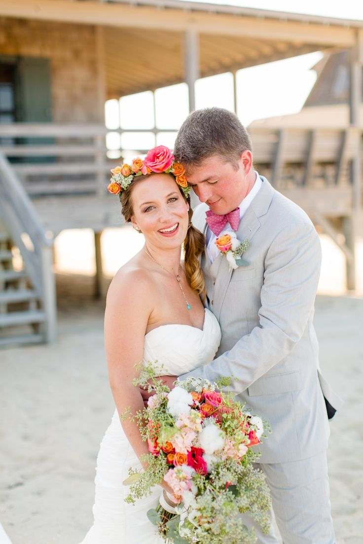 An Intimate Wedding by the Sea -- not crazy about the bouquet, but everything looks nice together (including the blue necklace & pink bow tie with anchors)
