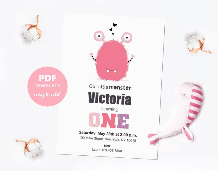 Birthday invitation card. First birthday PDF template card. Birthday party invitation for girls. Editable PDF for instant download. BCMO02 by PenguinGraphics on Etsy
