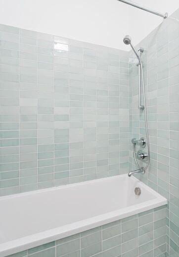 pale seaglass subway tile for bathtub walls