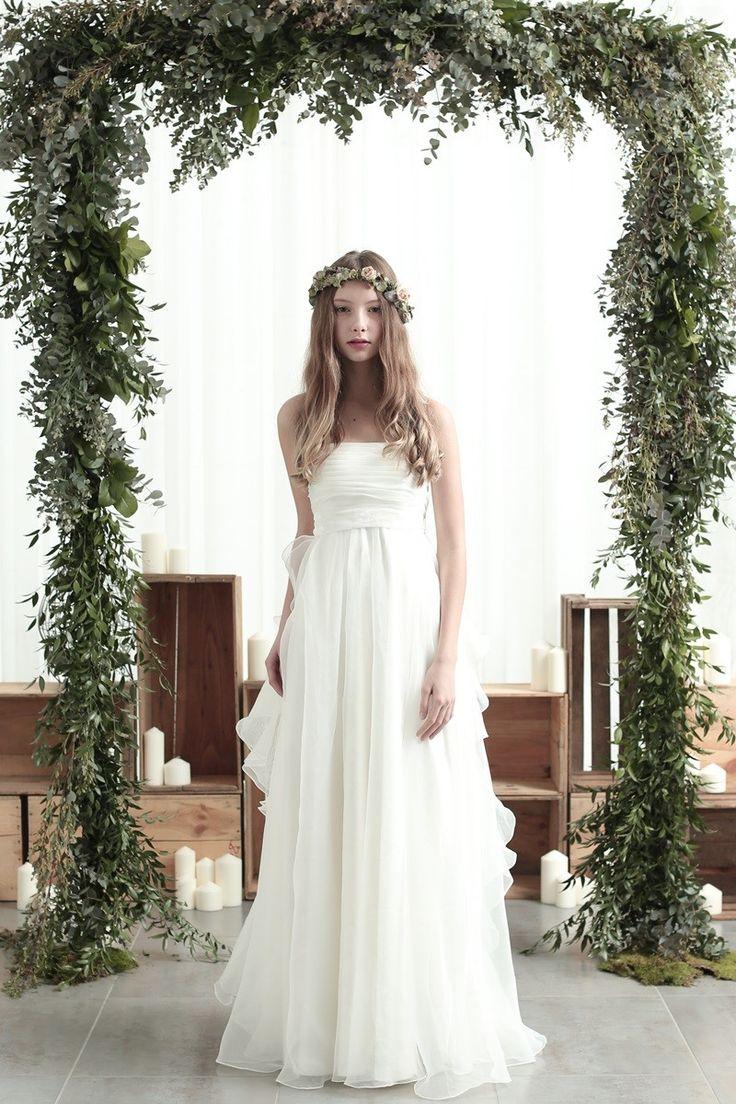 オーガンジーでガーデンウィエディング風♡白のエンパイア ウェディングドレス・花嫁衣装のまとめ一覧♡
