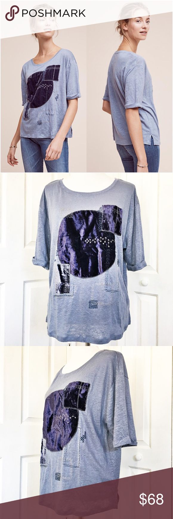 "Anthropologie Patched Velvet Tee by Akemi + Kin Beautiful blue Tee with purple velvet patchwork and embroidery.  Features a crew neck with elbow length sleeves.  Material tag has been listed.  Measurements laid flat: bust 22"" and length 26"".  Measurements are approximate. Anthropologie Tops Tees - Short Sleeve"