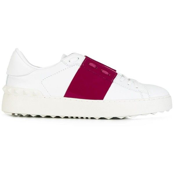 Valentino Garavani Open Leather Sneakers ($420) ❤ liked on Polyvore featuring shoes, sneakers, white, white sneakers, valentino trainers, valentino shoes, white trainers and white shoes