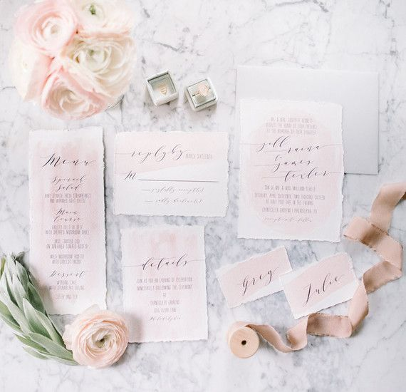pink watercolor wedding invitations - Blush Wedding Invitations
