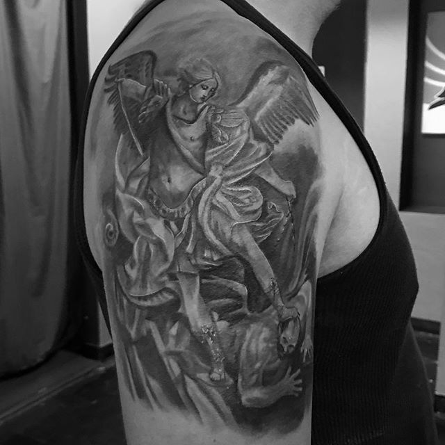 St. Micheal vanquishing Satan #lajollalocals #sandiegoconnection #sdlocals - posted by Reuben Gonzalez🦊  https://www.instagram.com/reubengonzalez. See more post on La Jolla at http://LaJollaLocals.com