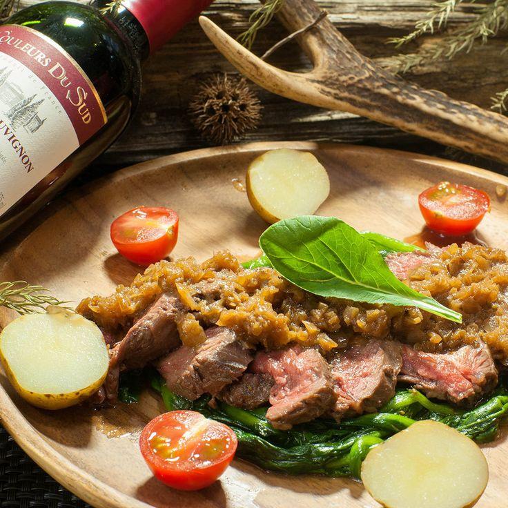 希少且つ極旨な鹿ランプ肉のステーキ