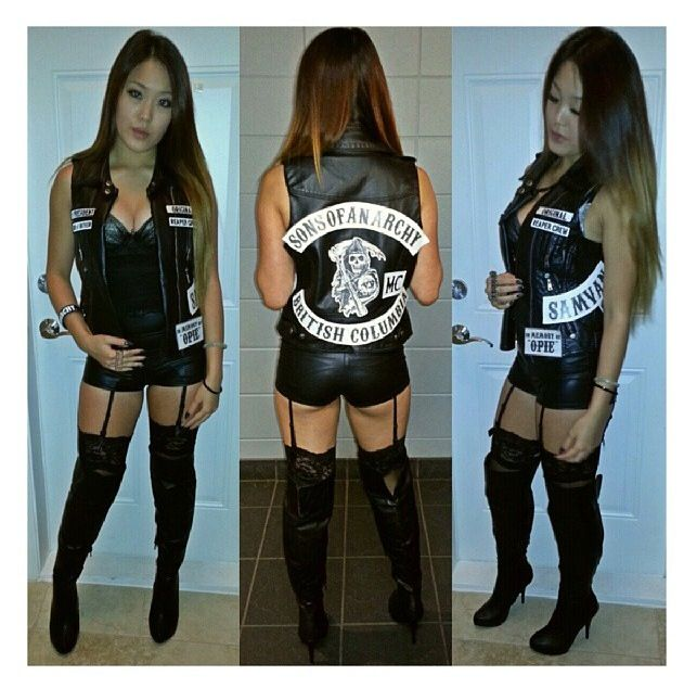 Halloween costume but with leather pants or a longer skirt...a little too skimpy for public