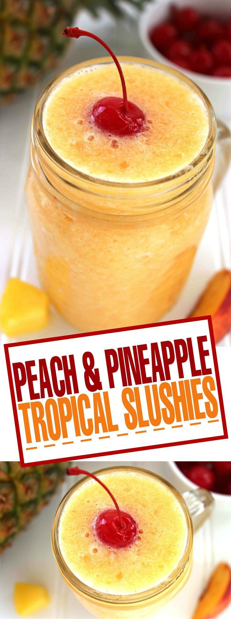 With summer on the way, these Peach & Pineapple Tropical Slushies are the perfect drink to help you cool down.