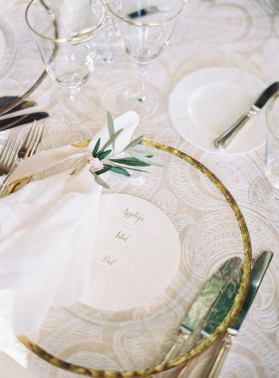 La Tavola Fine Linen Rental: Trouseau Ivory with Hemstitch White Napkins | Photography: Ashley Kelemen, Venue: Resort at Pelican Hill, Planning: LVL Weddings & Events, Floral & Event Design: Inviting Occasions