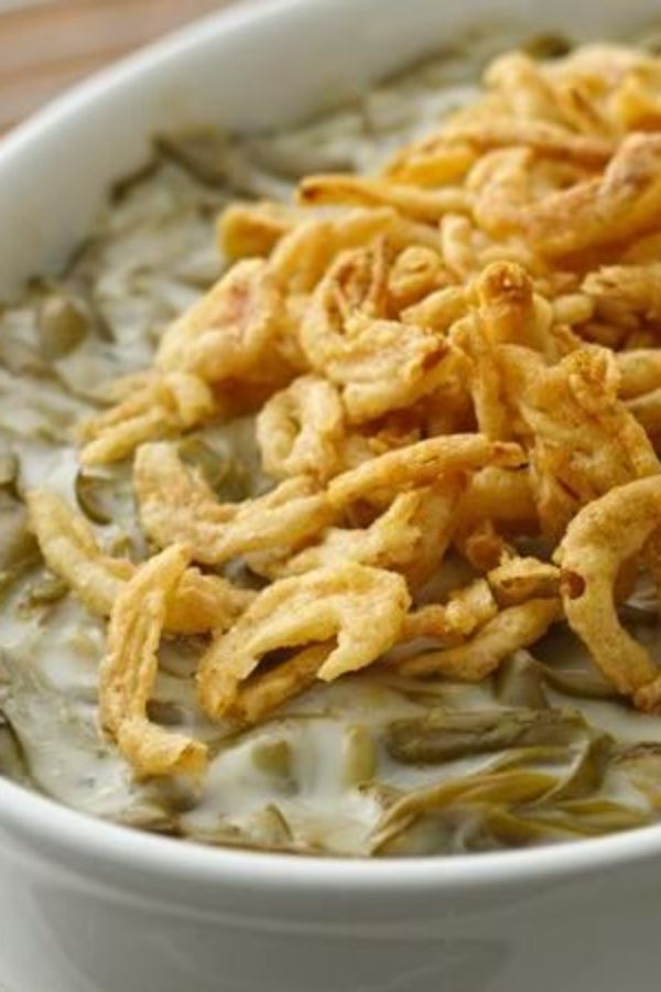 Every Thanksgiving feast must include our classic green bean casserole with creamy veggies and crunchy onion topping!