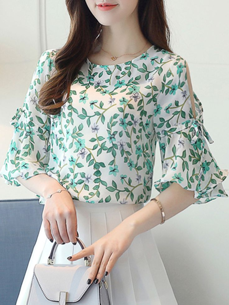 Open Shoulder Printed Bell Sleeve Chiffon Blouse
