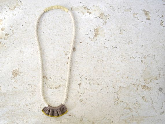Statement necklace,  summer crochet necklace in tan and mustard, silk necklace, fiber jewelry, medium rope necklace