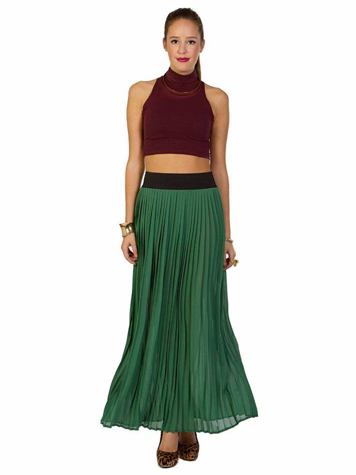 Solemio | Pleated Maxi Skirt in green www.sabrinascloset.com