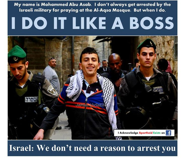 #Israel: We don't need a reason to arrest Palestinian kids.  Update: His name is Ahmad not Mohammed.