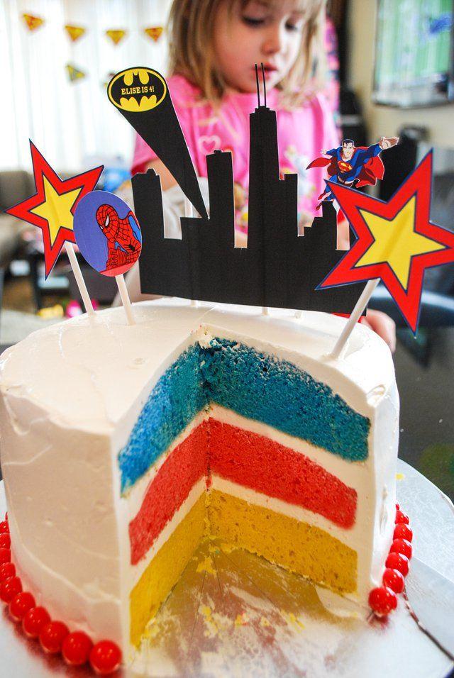 Easy super hero birthday cake with free printable cake toppers for a super hero birthday party