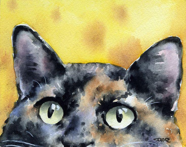 Tortie Cat Art Print Tortoiseshell Watercolor Signed by Artist DJ Rogers by k9artgallery on Etsy https://www.etsy.com/listing/101027100/tortie-cat-art-print-tortoiseshell