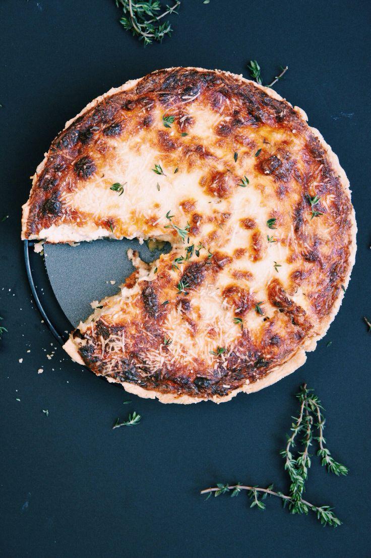 cauliflower + caramelized onion tart { flour, butter, egg yolk, salt, water | olive oil, cauliflower, onions, mustard, eggs, mascarpone cheese, sour cream, gruyere cheese, thyme, parmesan }