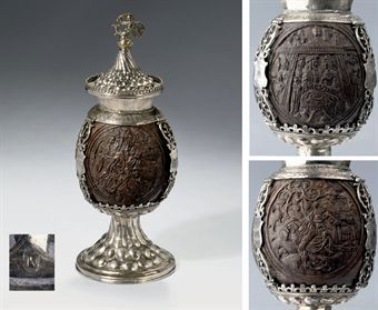 A silver-mounted coconut cup and a cover
