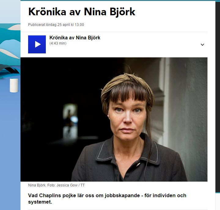 """Nina Björks krönika: """"Vad Chaplins pojke lär oss om jobbskapande"""" http://sverigesradio.se/sida/artikel.aspx?programid=438&artikel=6150212 (ankyter till #RolandPaulsen's bok """"Vi bara lyder"""") ."""