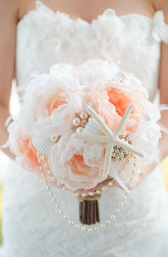 Custom Seashell Bouquet Fabric Flower Brooch Bouquet by Mlleartsy