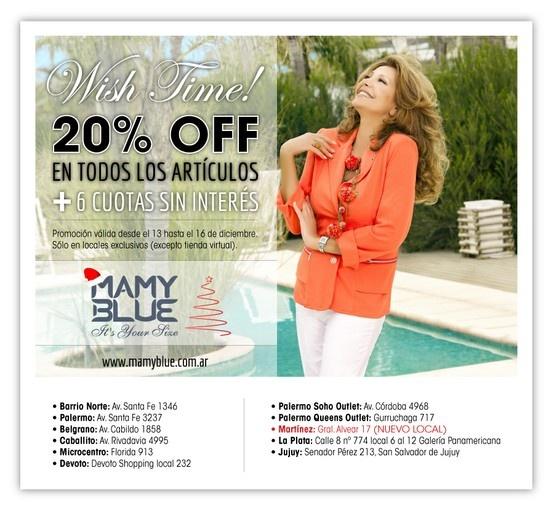 Promoción Navidad 20% OFF, Mamy Blue.