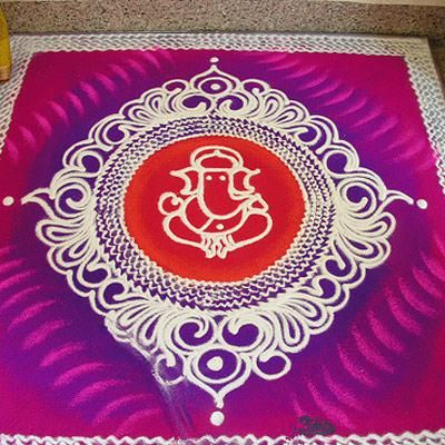 Ganesh Rangoli Designs For Diwali 2014