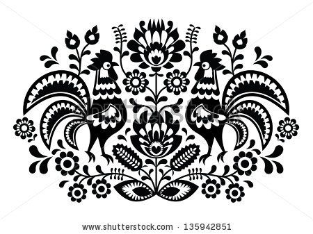 Polish floral embroidery with roosters - traditional folk pattern by RedKoala, via ShutterStock