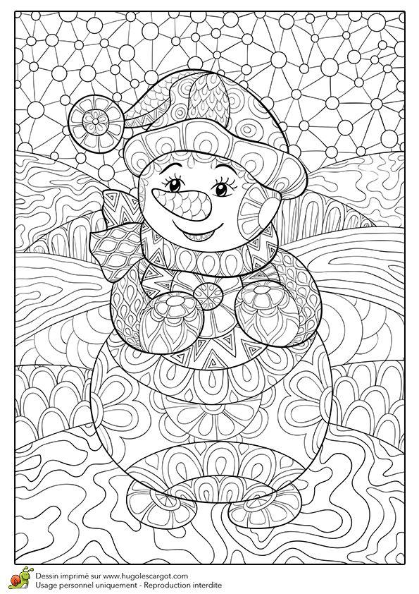 Dessin à colorier pour un hiver zen, joli bonhomme de neige - Hugolescargot.com