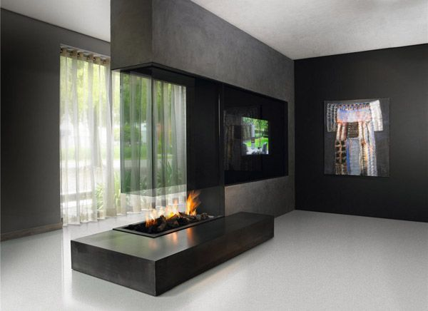 Modern glass fireplace