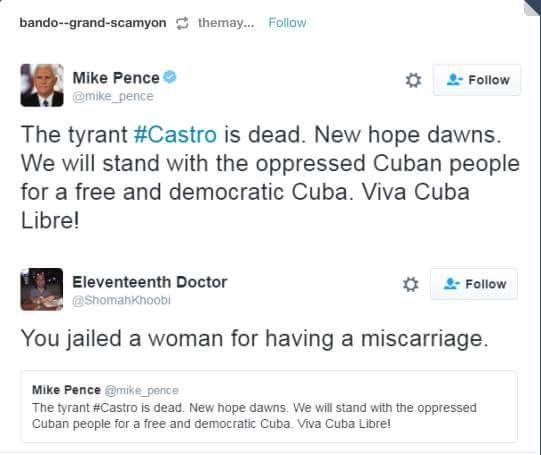 Mike Pence needs to remember where he's come from. We haven't forgotten. Mike Pence jailed a woman for having a miscarriage.