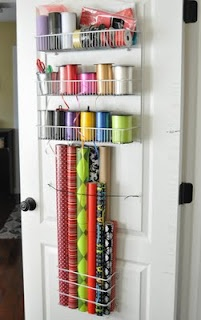 behind the door gift wrapping storage.