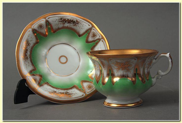 Porcelain cup and saucer set by Waldenburg (Wałbrzych, Poland), c. 1850