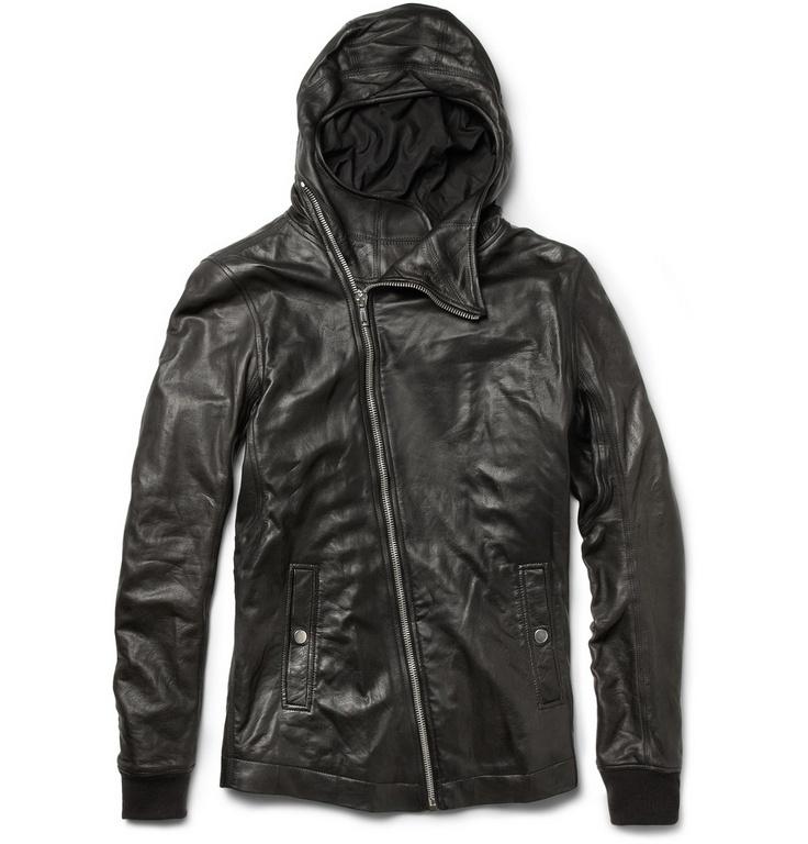 Comfy but dressy Rick Owens Bullet Hooded Leather Jacket