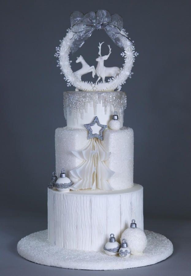Winter White Wedding by Nancy Travis Wheaton's Fancy Cakes - http://cakesdecor.com/cakes/296181-winter-white-wedding