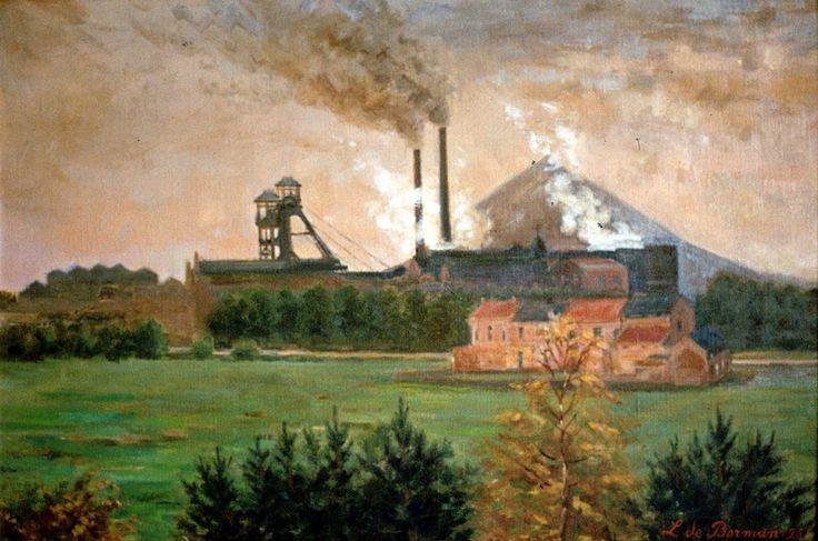 Kempisch landschap met kolenmijn. Schilderij van Lodewijk Marie De Borman uit 1951. [Het Stadsmus - 1979.0009.00]