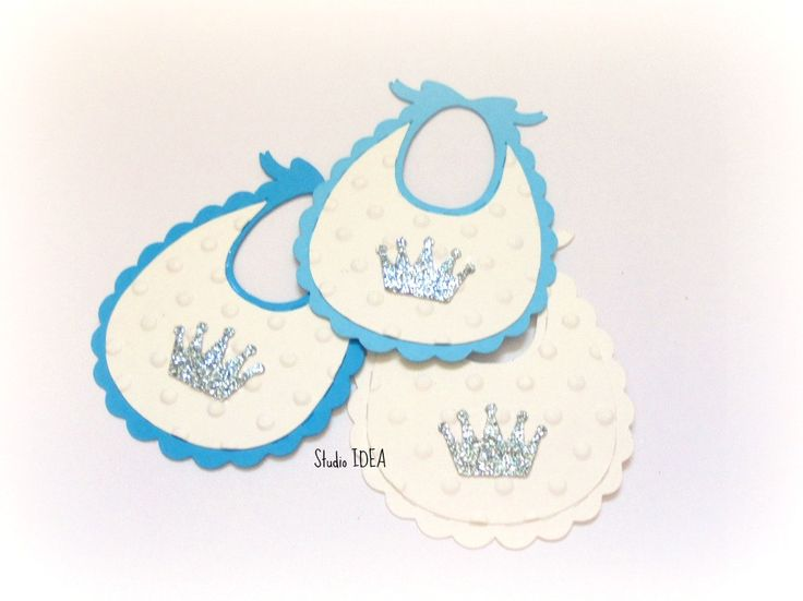 "Mixed Blue & White 2"" Baby Bib Tag -Polka dots embossed baby bib with…"