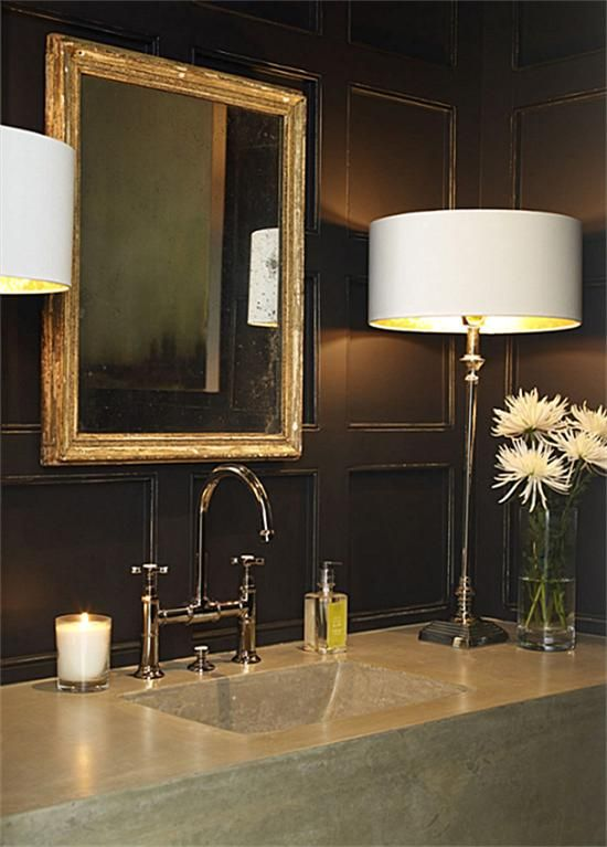 lamps + dark painted panels + bridge faucet + Lamps instead of sconces.
